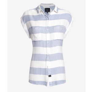 Rails Blue & White Striped Short Sleeve Shirt